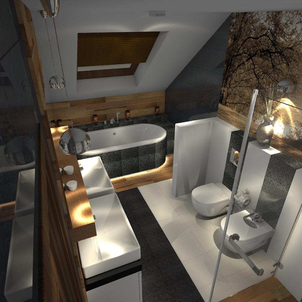 łazienka Czarna Z Elementami Drewna Aranżacje Wnętrz